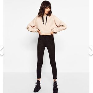 Zara NWT Faux Suede Stretch Leggings